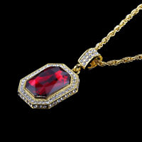 """Women Men Hip Hop Gold Plated Square Red Crystal Pendant 28"""" Long Chain Necklace"""