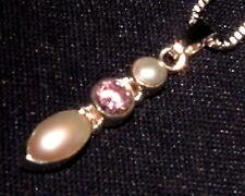 Colgante KUNZITA con perlas + cadena plata piedra curativa 1,8g 27x5x4mm