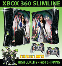 XBOX 360 SLIM ALICE MADNESS RETURNS WONDERLAND STICKER SKIN & 2 X PAD SKINS