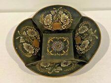 "Antique Folk Art Gold Stencil Toleware Square Tin Bowl Basket Compote Dish 12"""