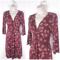 Fat Face Mulberry Red Floral Jersey Dress UK10 Knot Bust