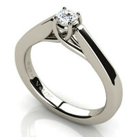 Solitaire Diamond 0.20ct Vs1 clarity H color Engagement Ring 18k White Gold NEW