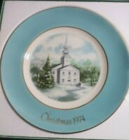 Vintage Avon 1974  Christmas Plates Country Church 1975 Skaters On The Pond 2set