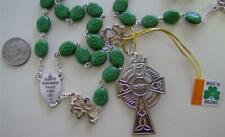 Irish Celtic Rosary w Green Shamrock Beads made Ireland St. Patrick Box Nib