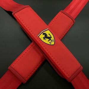 Red Seat Belt Shoulder Pads with embroidery Fit to Ferrari 2pcs