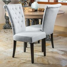 (Set of 2) Light Grey Fabric Roll-Top Dining Chairs w/ Tufted Accents