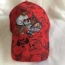 """SKULL SKATEBOARD HAT Snake Red """"DO OR DIE"""" Ed Hardy style snapback trucker cap"""