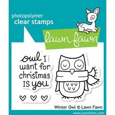 Lawn Fawn Photo-polymer Clear Stamp Winter Owl I Want for Christmas Is You Heart