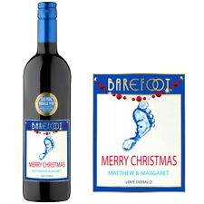 Personalised Barefoot Merlot Wine Label For Anniversary Xmas Christmas gift BL2