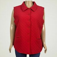 Drapers & Damons Quilted Button Front Vest Jacket 3X PLUS Red Pockets Lined