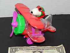 Vintage Snoopy Rare UFS Inc In Bi-Wing Plane Gumball Dispenser Green Red + Clear