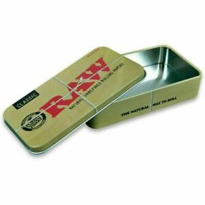 RAW Tin Rolling Papers Printed Tobacco Tins Case GENUINE Paper Storage Stash Box