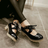 Womens Mid Heel Platform Lace UP Hollow Out Pumps Mary Jane New Shoes Plus Size