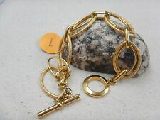 Vintage MONET Textured  Link Ovals Chain Gold Tone Bracelet Size 6''