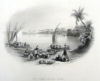 Egypt NILE RIVER FERRY BOAT FELUCCA & GIZA PYRAMIDS ~ 1850 Art Print Engraving