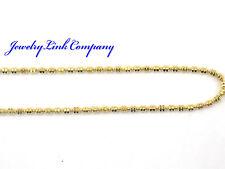 "14K Yellow Gold DogTag Double Bead Chain 20"" 1.4mm 4.1grams Italian D/C"