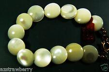"Vintage Lovely Genuine White MOP Mother of Pearl coin Beaded bracelet 7""L"