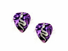 DEEP PURPLE GUITAR PICK w/ SNAKE CHARM EARRINGS PICKS