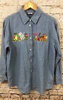 Rainforest Cafe chambray denim shirt womens large button embroidery animals P1