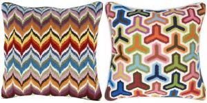 2x Jonathan Adler Large Bargello Cushion. Wool / Velvet. Hazard & Flame Pattern