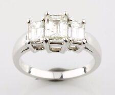 14K White Gold 3-Stone Emerald Cut Diamond Engagement Ring Sz 6 TDW = 1.77 ct