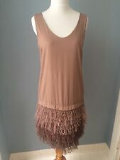 NWOT Brunello Cucinelli light brown silk dress with cotton fringes size S