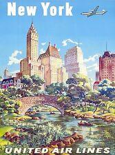 1940s New York United States of America Vintage Travel Advertisement Art Poster