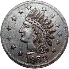 1863 Not One Cent Crude Indian Head Patriotic Civil War Token