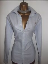Exquisito RALPH LAUREN Oxford Azul y Blanco a Rayas Blusa Camisa Top Uk 12