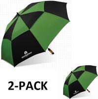 "WeatherProof 60"" 2-Pack Double Canopy Fiberglass Auto Jumbo Golf Umbrella EC"