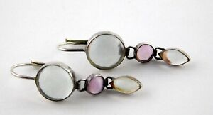 S 925 Sterling Silver Colored Glass Cabochons Drop Earrings Leverback Pierced