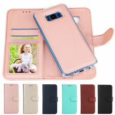 Detachable Flip Leather + Silicone Gel Holder Magnetic Wallet Phone Case Cover E