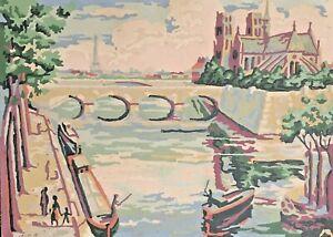 """Vintage 1960 Paint by Number PARIS River Seine Eiffel Tower Notre Dame 10""""x14"""""""