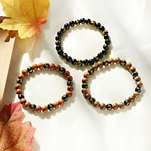 Women Men's Charm Natural Wood Buddhism Bangle Yoga Energy Luck Bracelets Gift