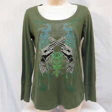 Rock 47 by Wrangler Pistols Green Shirt Size S