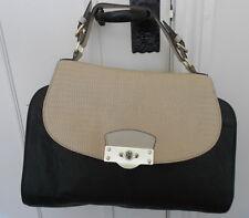 RIVER ISLAND Black Tan & White Grab Bag Handbag - Very Good Condition