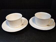 TWO Mikasa English Countryside Cup Saucer Sets Mug White DP900 Set of 2 MINT!