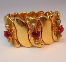 B & N Signed Vintage Gold Filled Metal Expansion Bracelet Rhinestones Faux Pearl