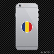 Round Romanian Flag Cell Phone Sticker Mobile Romania ROU RO