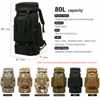 80L Molle Outdoor Military Tactical Bag Camping Hiking Trekking Backpack