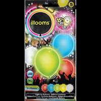 5x iLLooms LED Balloons - Party Birthday Celebration Accessories Colourful LED
