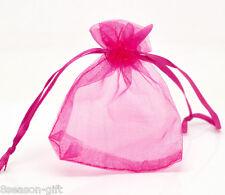 "100 Fuchsia Drawable Organza Wedding Gift Bags&Pouches 9x7cm(3-1/2""x2-3/4"")"
