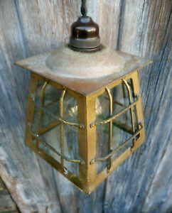 Antique Vintage Brass Porch Ceiling Light Lamp Hall Pendant Glazed Refurbished