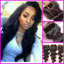 PERUVIAN 3WAYS/MIDDLE/FREE PARTING LACE CLOSURE BLEACH KNOTS 12AA 4X4 FAST SHIP