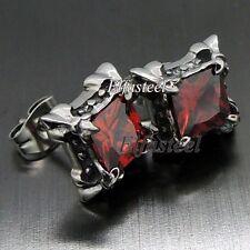Fleur De Lis Ruby Red Cubic Zirconia 316L Stainless Steel Men Stud Earrings