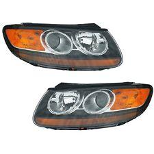 Pair Set of 2 Headlights Head Lamps Eagle Eyes Fits Hyundai Santa Fe 2001-2003