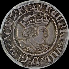 GREAT BRITAIN HENRY VIII 1/2 GROAT 2 PENCE PCGS XF40 ANTIQUE TONED OLD ENGLAND