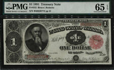 TT  Fr. 352 1891 $1 Treasury Note small red seal Stanton PMG 65 EPQ Gem Unc