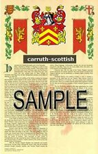 CARRUTH Armorial Name History - Coat of Arms - Family Crest GIFT! 11x17