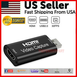HDMI to USB Video Capture Card 1080P Recorder Phone Game Video Live Streaming US